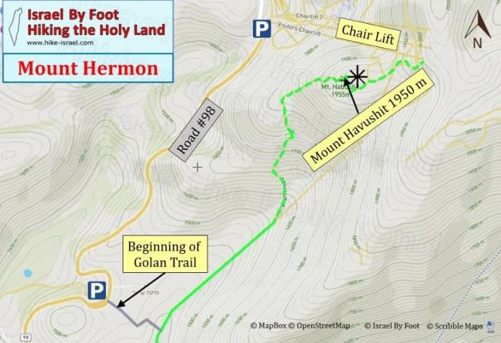 Mount Hermon Hiking MaP