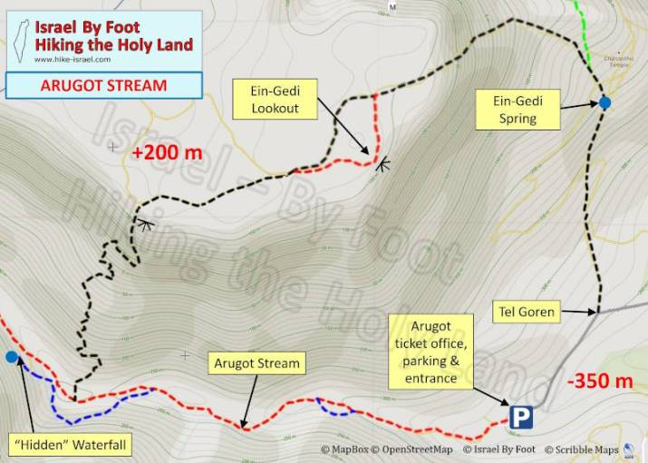 Arugot stream hiking map (Ein-Gedi Israel)