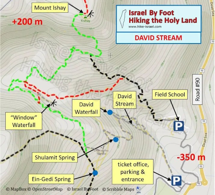 David stream hiking map