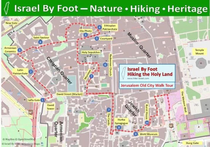 Jerusalem Old City Walking Tour Map
