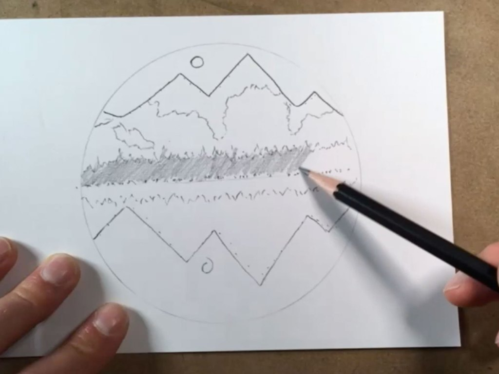 how to draw an easy mountain scene - step 3