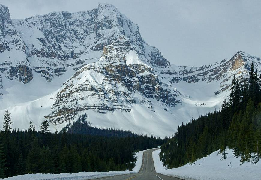 The Icefields Parkway in winter on a very good day for driving
