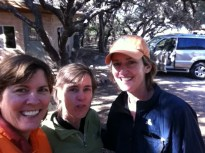 Judy, Bettina, Maria after a chilly night of camping. (JP)