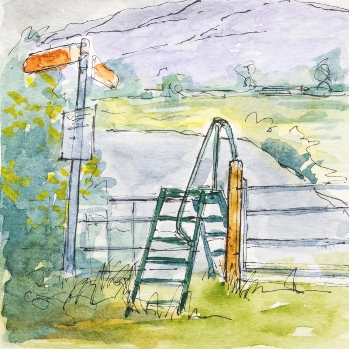 Ladder stile before the steep climb