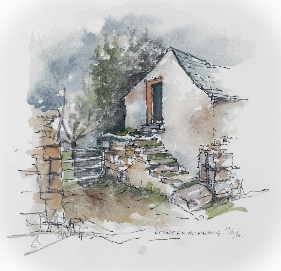 Lisheenacrehig, Old farm building watercolour sketch