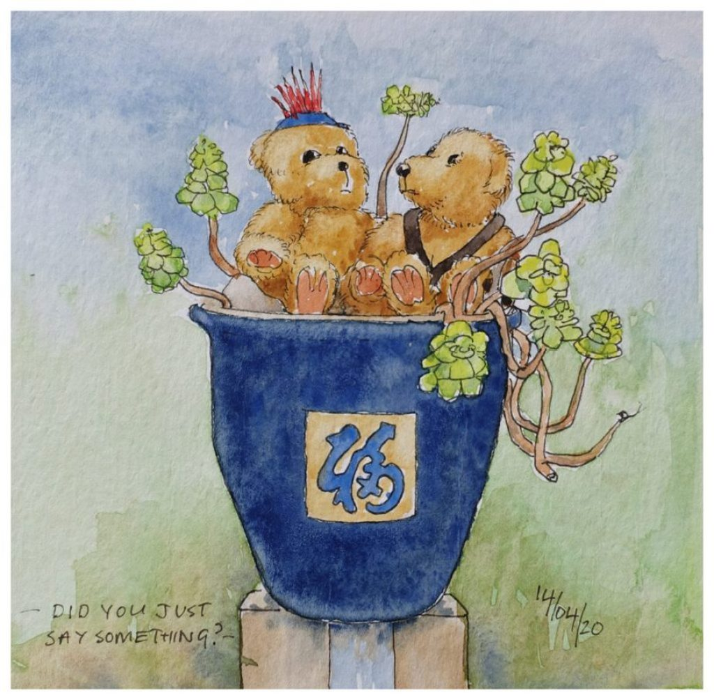 Two Teddy Bears on a big blue flower pot on a gate post. Watercolour sketch
