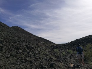 Climbing into the crater