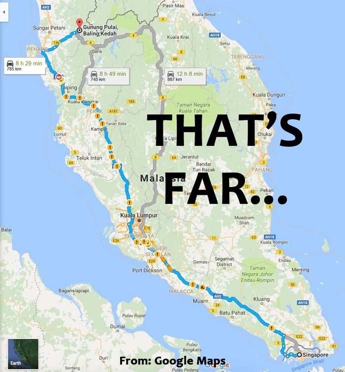Singapore to Gunung Baling