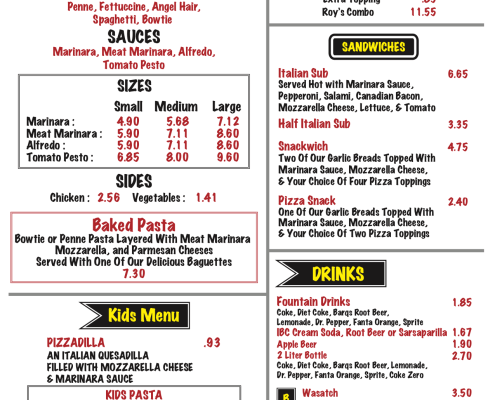 Roy's Pizza & Pasta Restaurant Menu featuring pasta, calzones, sandwiches, drinks , and kids' meals