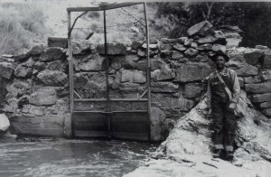 Hurricane Canal historic photo of headgate at diversion dam