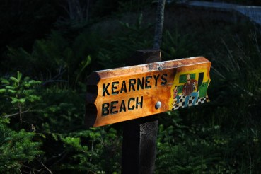 The trail marker opposite the boardwalk viewpoint at Kearney's Beach.