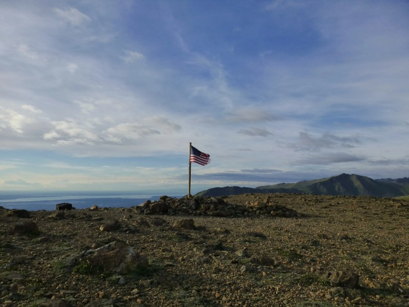 American flag on Flattop Mountain