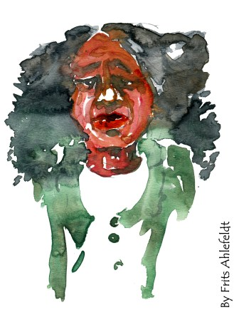 Woman, green jacket Watercolor