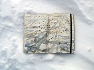Tracks in my moleskine in the snow, watercolors, snow and ice