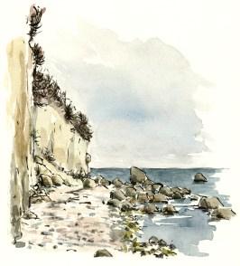 Arnager, southcoast trail, Bornholm, Denmark. Watercolor