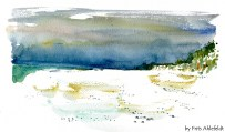 Dueodde, beach, Bornholm, Denmark. Watercolor