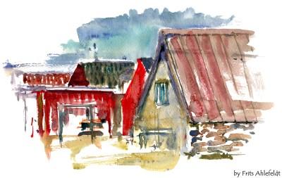 Snogebaek, fishing village, Bornholm, Denmark. Watercolor