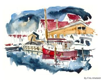 Boats and houses, Watercolor from Christianshavn, Copenhagen, Denmark