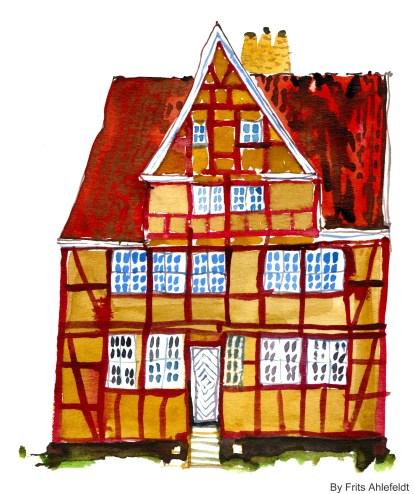 Old house, Watercolor from Christianshavn, Copenhagen, Denmark