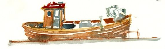Fishing boat, Bornholm, Denmark. Watercolor