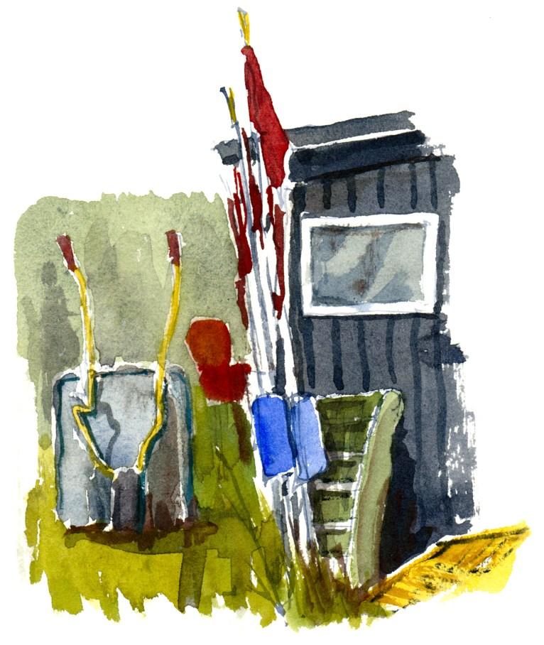 Fishing shack, Bornholm, Denmark. Watercolor