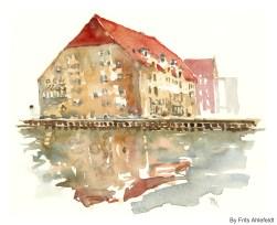 Gammel Dok, Watercolor from Christianshavn, Copenhagen, Denmark