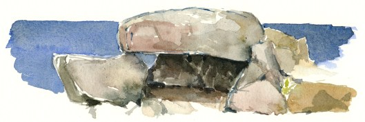 Granite rocks, east coast of Bornholm. Watercolor