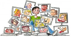 drawing of a woman with all her relations on computer screens