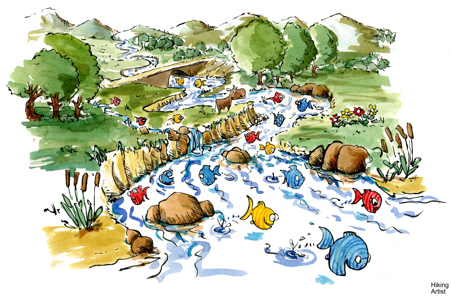 Fish Swimming In River Illustration