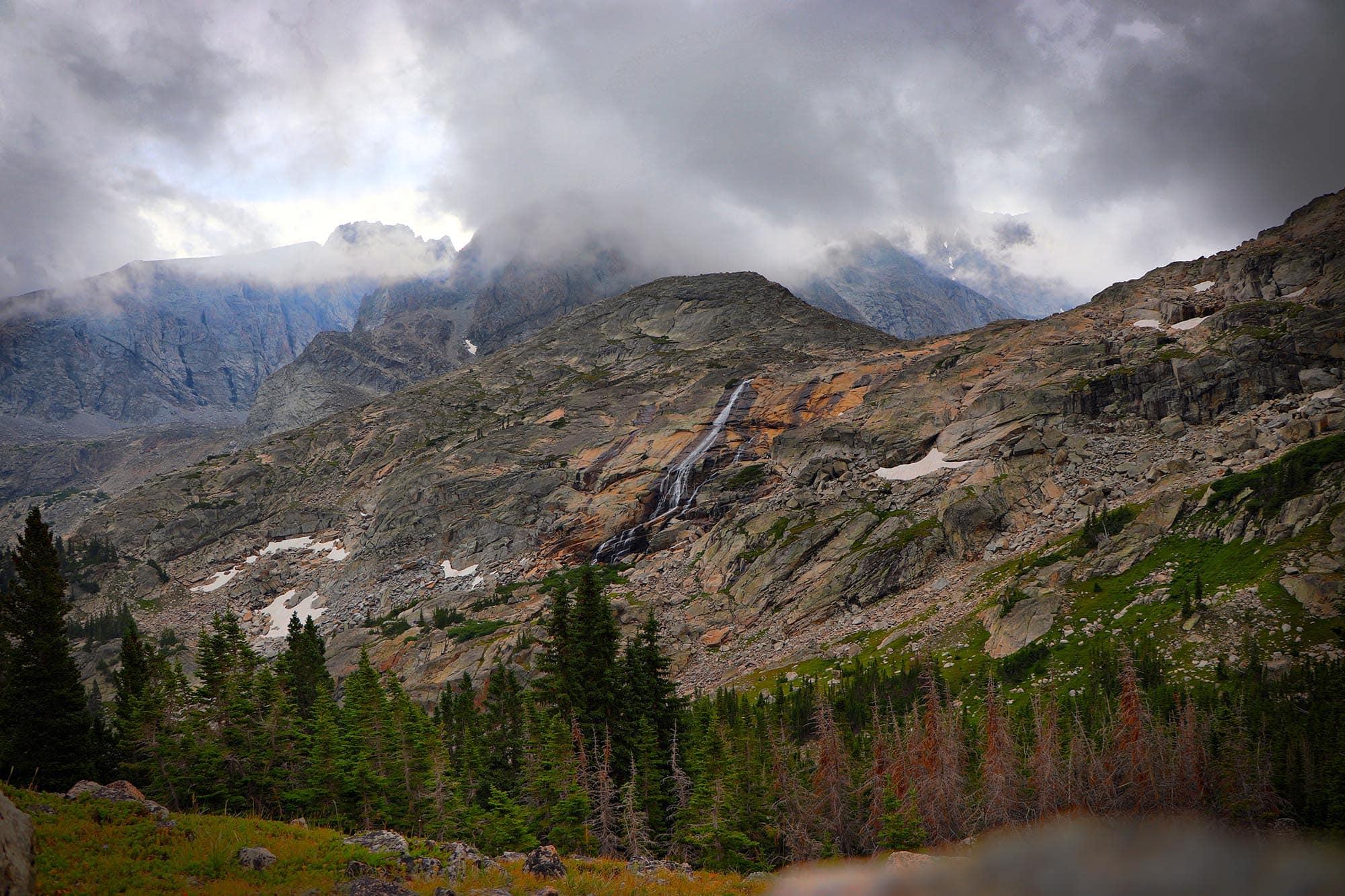 Loomis Lake, Wyoming waterfall in storm
