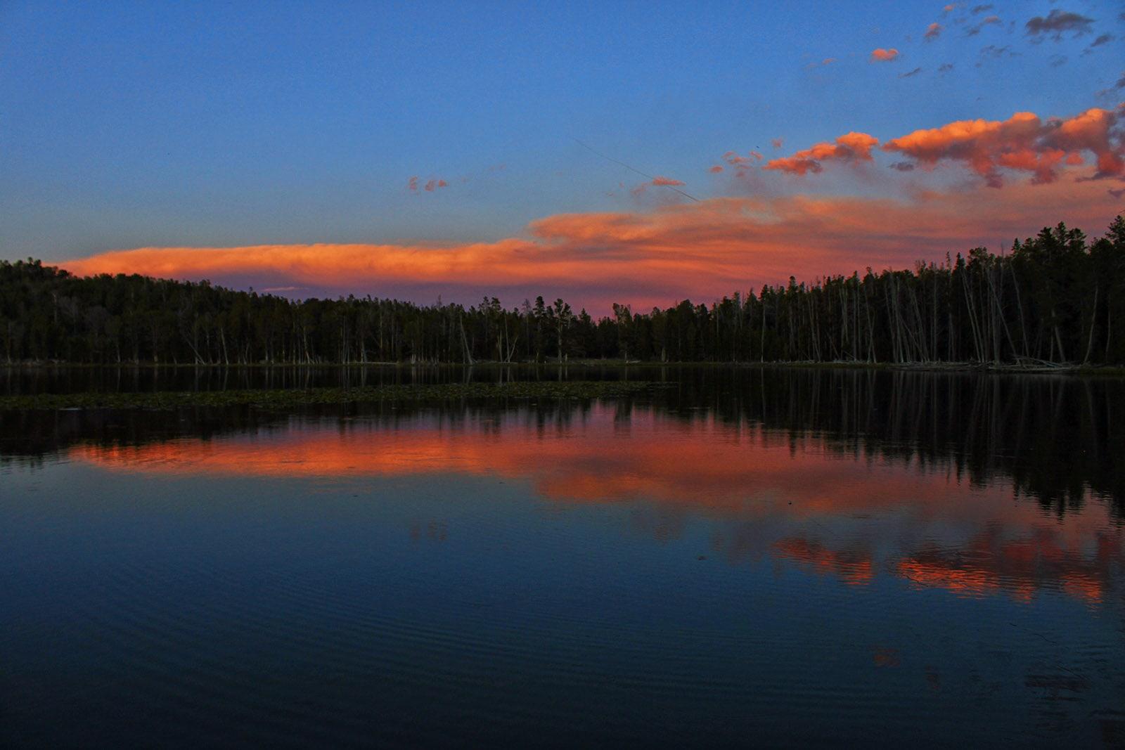 Fiddlers Lake Wyoming at sunset