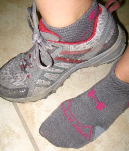 The UnderArmour socks after a trail run