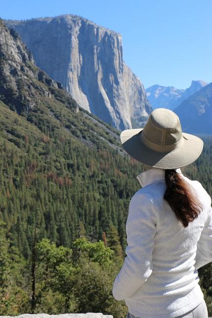 Hiking Lady wearing the Royal Robbins Rosa Jacket in Yosemite