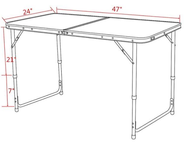 Timber Ridge Portable Hiking Table dimensions