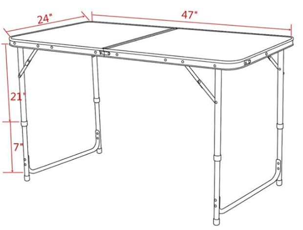 Timber Ridge Portable Hiking Table dimensions