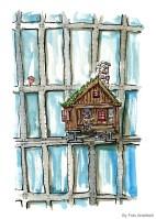 banjo-player-in-little-wood-cabin-on-high-rise-illustration-Frits-Ahlefeldt