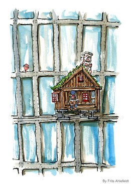 banjo-player-in-little-wood-cabin-on-high-rise-illustration-Frits-Ahlefeldt