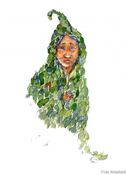 illustration of person in leaf clothes