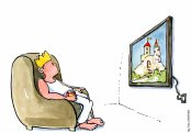 king-watching-tv