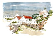 Watercolor of ChristiansOe fort, ertholmene, Baltic Sea