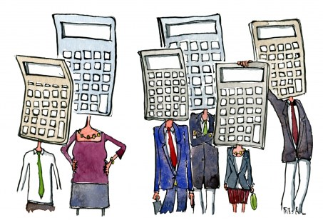 Drawing of people with heads as calculators