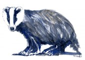 Badger side view - watercolor
