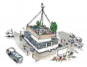 Drawing of an modular micro park, being placed in the city
