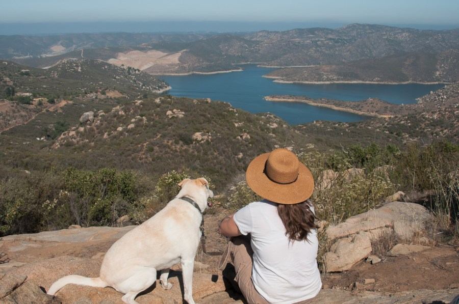 Enjoying the view of the San Vicente Reservoir