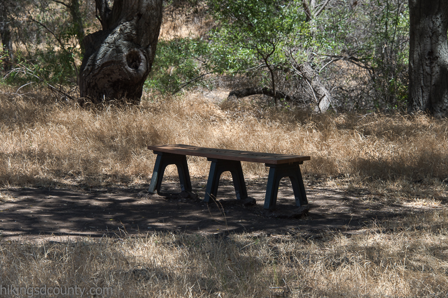 A strategically placed bench provides a welcome resting spot along the Hollenbeck Canyon trail