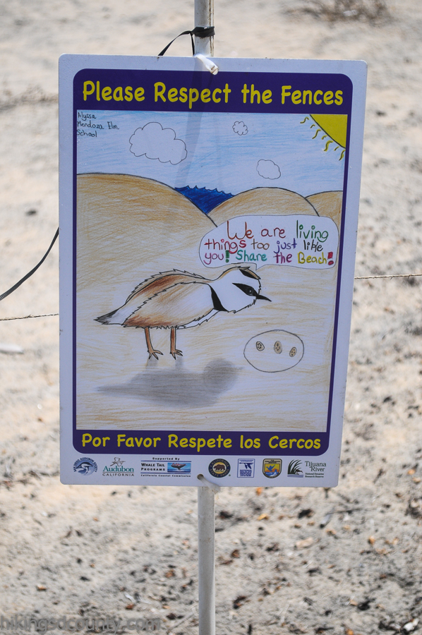 A sign warns visitors not to disturb the sensitive nesting areas at the Tijuana Estuary