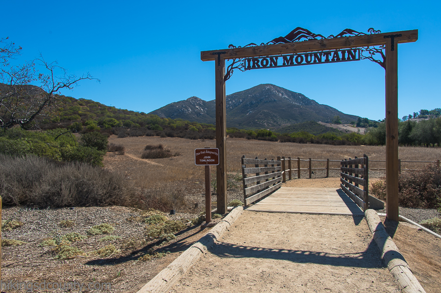 This distinctive wooden gate marks the start of the Iron Mountain trail
