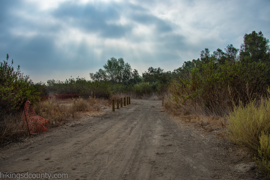 Signs of trail improvement projects at Tijuana Valley Regional Park