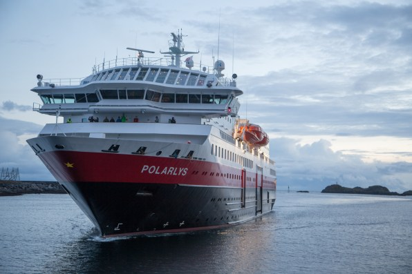 The Hurtigruten services two ports in the Lofoten Islands