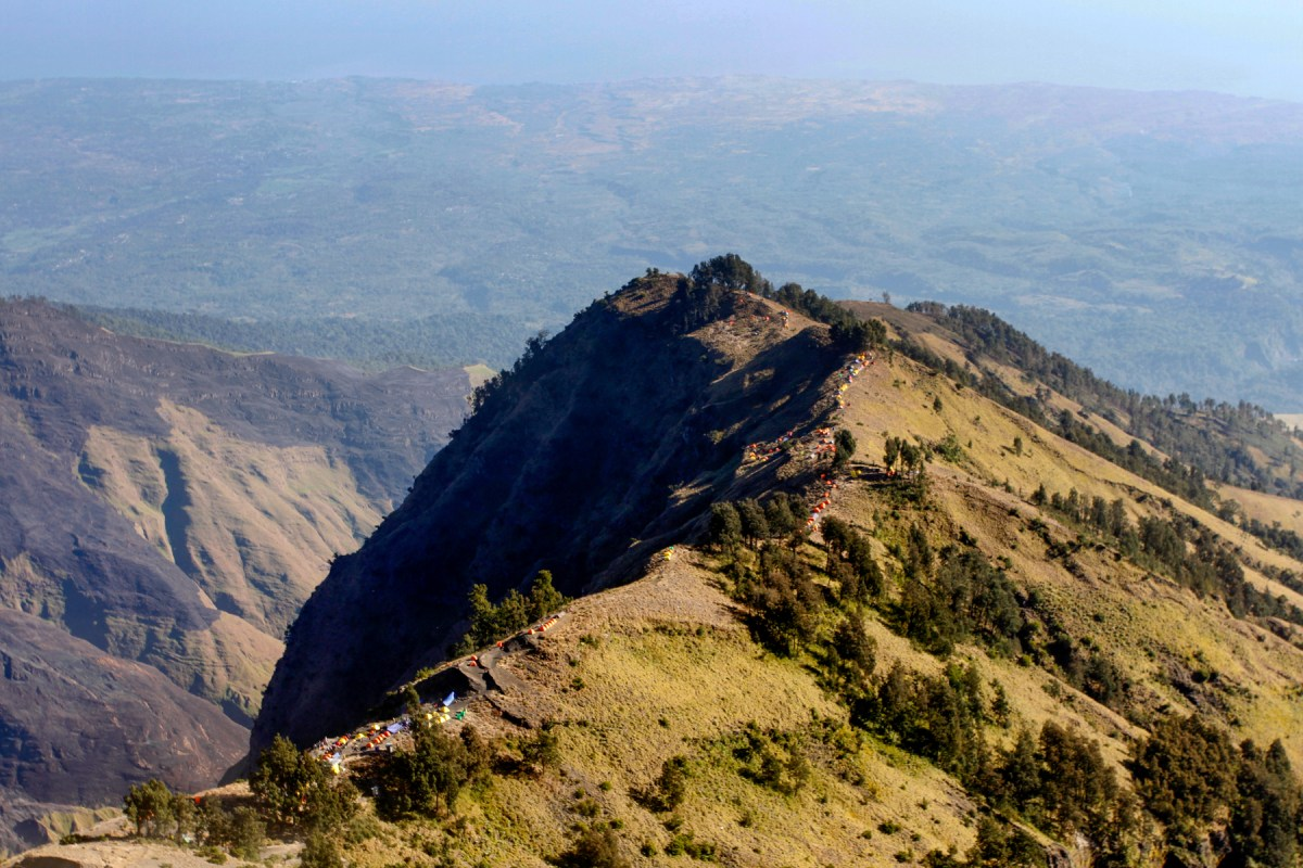 Tents lining the crater rim
